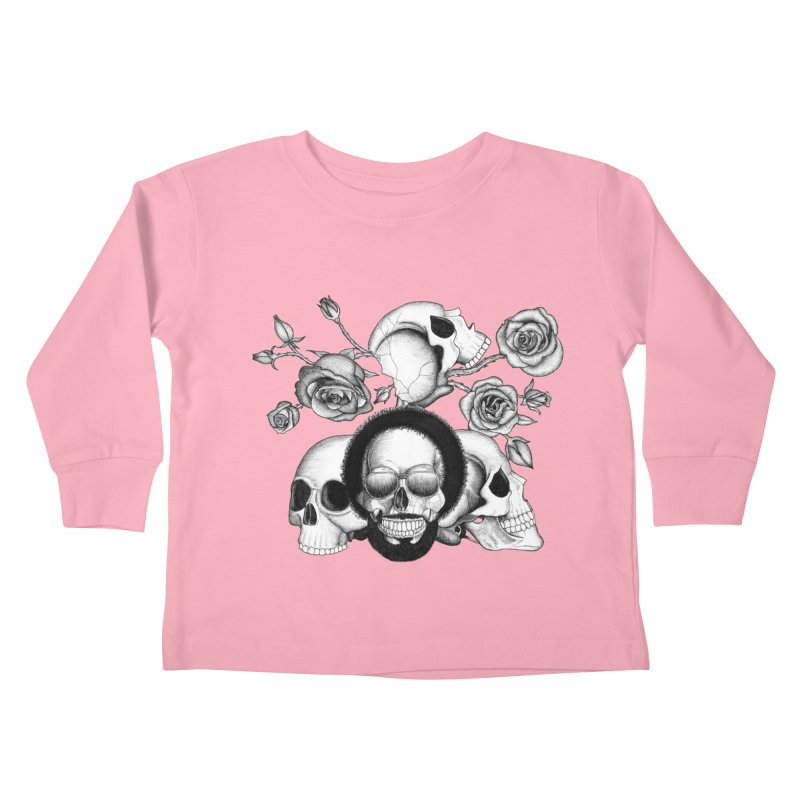 Grunge skulls and roses (afro skull included. Black and white version) Kids Toddler Longsleeve T-Shirt by Beatrizxe