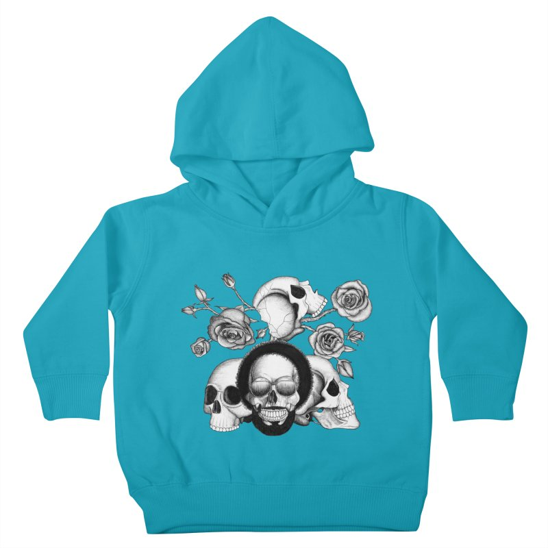 Grunge skulls and roses (afro skull included. Black and white version) Kids Toddler Pullover Hoody by Beatrizxe