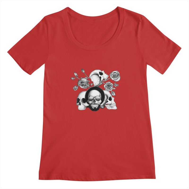 Grunge skulls and roses (afro skull included. Black and white version) Women's Regular Scoop Neck by Beatrizxe