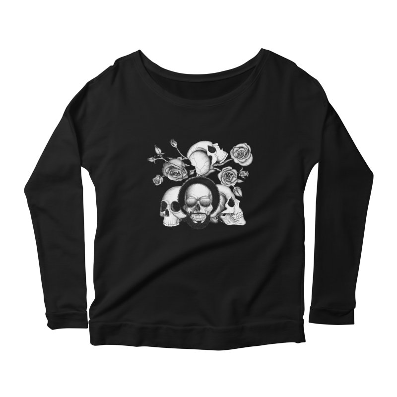 Grunge skulls and roses (afro skull included. Black and white version) Women's Longsleeve Scoopneck  by Beatrizxe