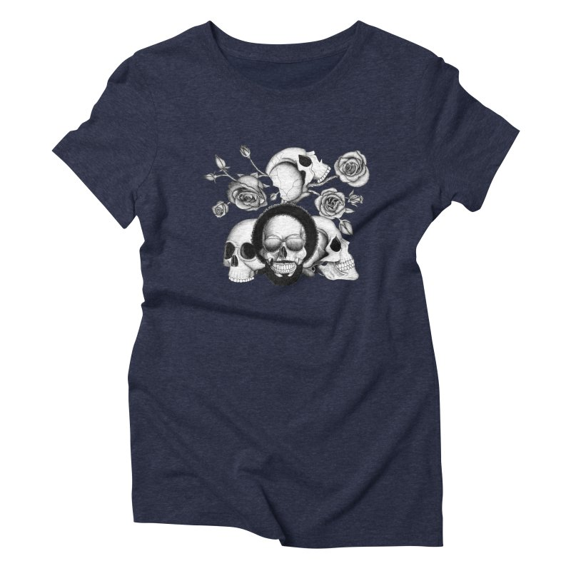 Grunge skulls and roses (afro skull included. Black and white version) Women's Triblend T-shirt by Beatrizxe
