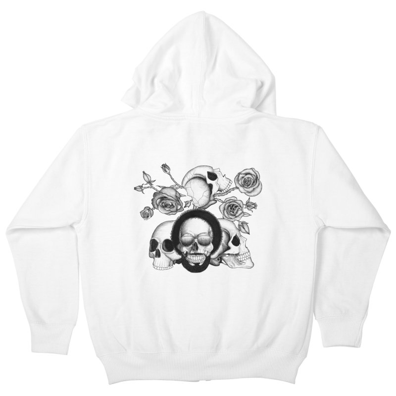 Grunge skulls and roses (afro skull included. Black and white version) Kids Zip-Up Hoody by Beatrizxe