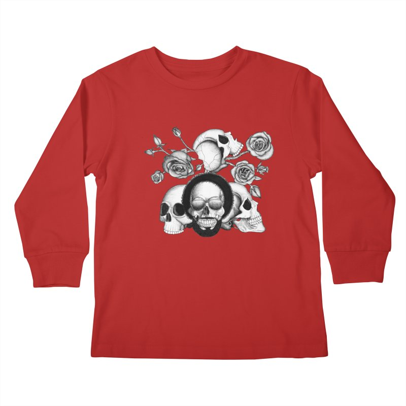 Grunge skulls and roses (afro skull included. Black and white version) Kids Longsleeve T-Shirt by Beatrizxe