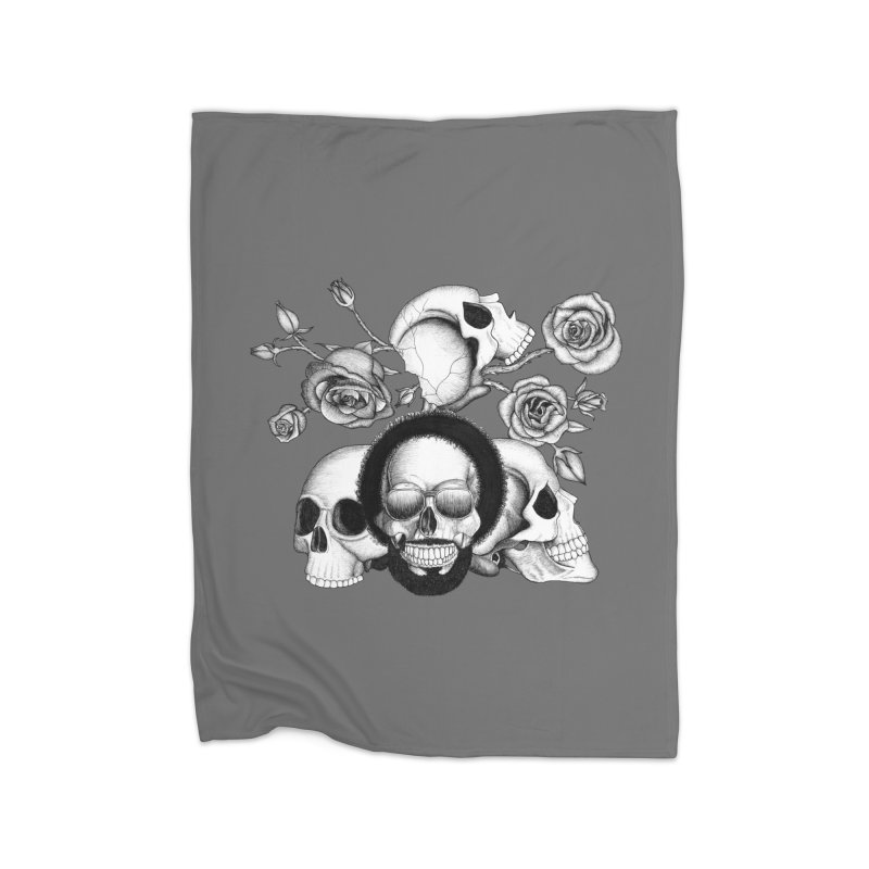 Grunge skulls and roses (afro skull included. Black and white version) Home Blanket by Beatrizxe