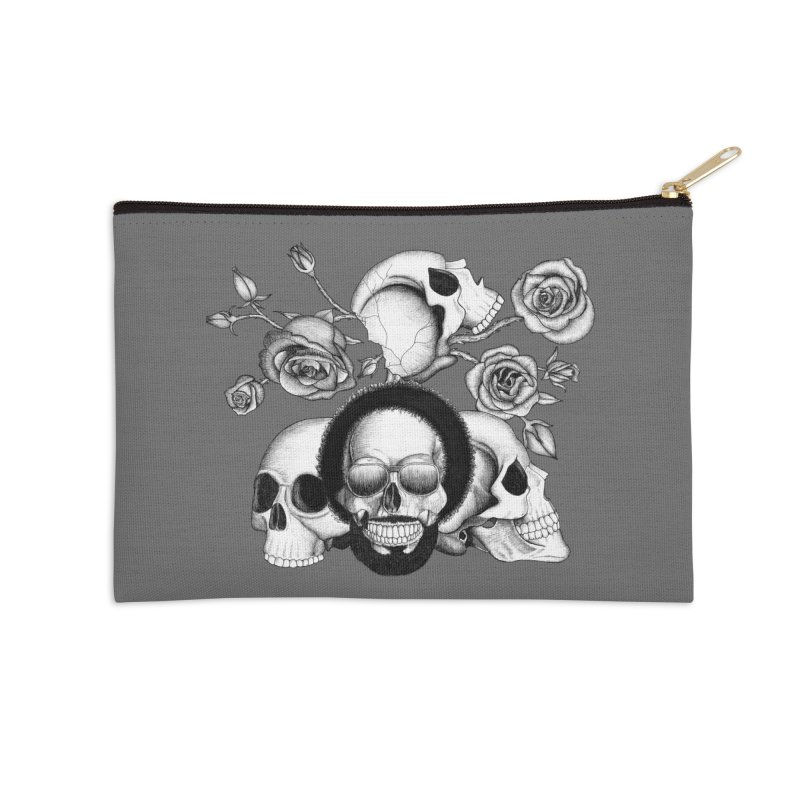 Grunge skulls and roses (afro skull included. Black and white version) Accessories Zip Pouch by Beatrizxe
