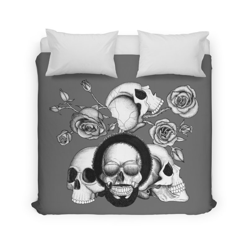 Grunge skulls and roses (afro skull included. Black and white version) Home Duvet by Beatrizxe