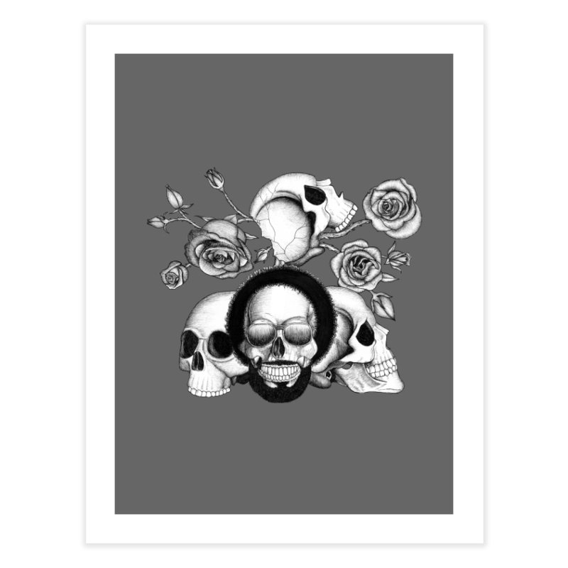 Grunge skulls and roses (afro skull included. Black and white version) Home Fine Art Print by Beatrizxe