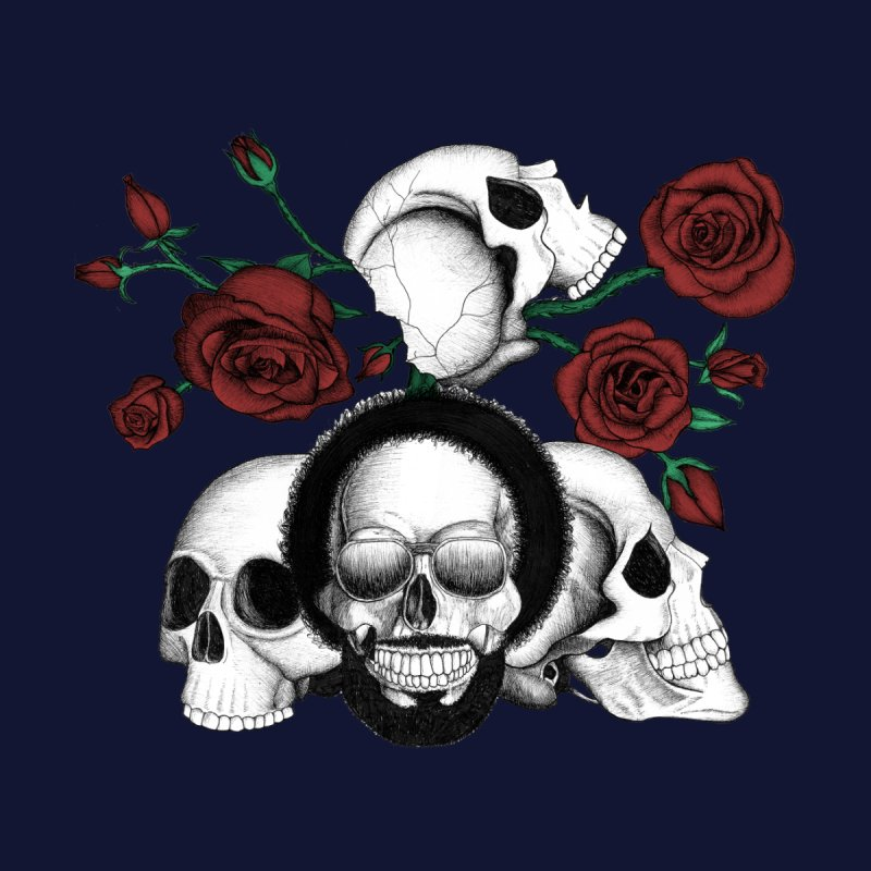 Grunge Skulls And Red Roses Afro Skull Included Color