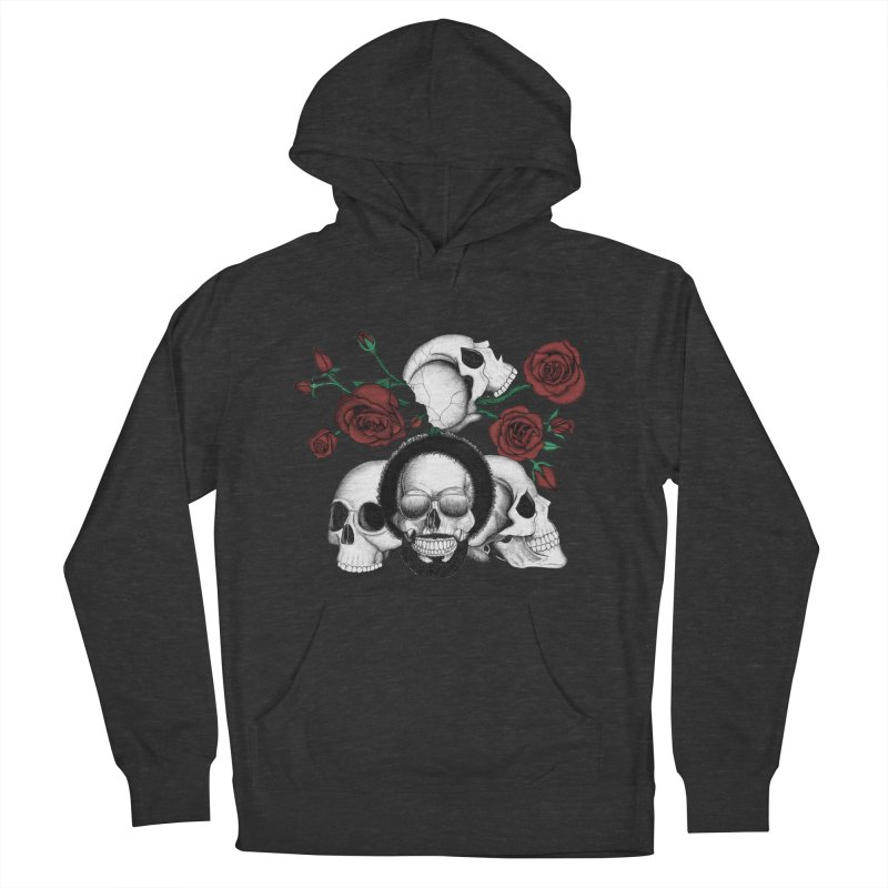 Grunge skulls and red roses (afro skull included. Color version) Women's Pullover Hoody by Beatrizxe