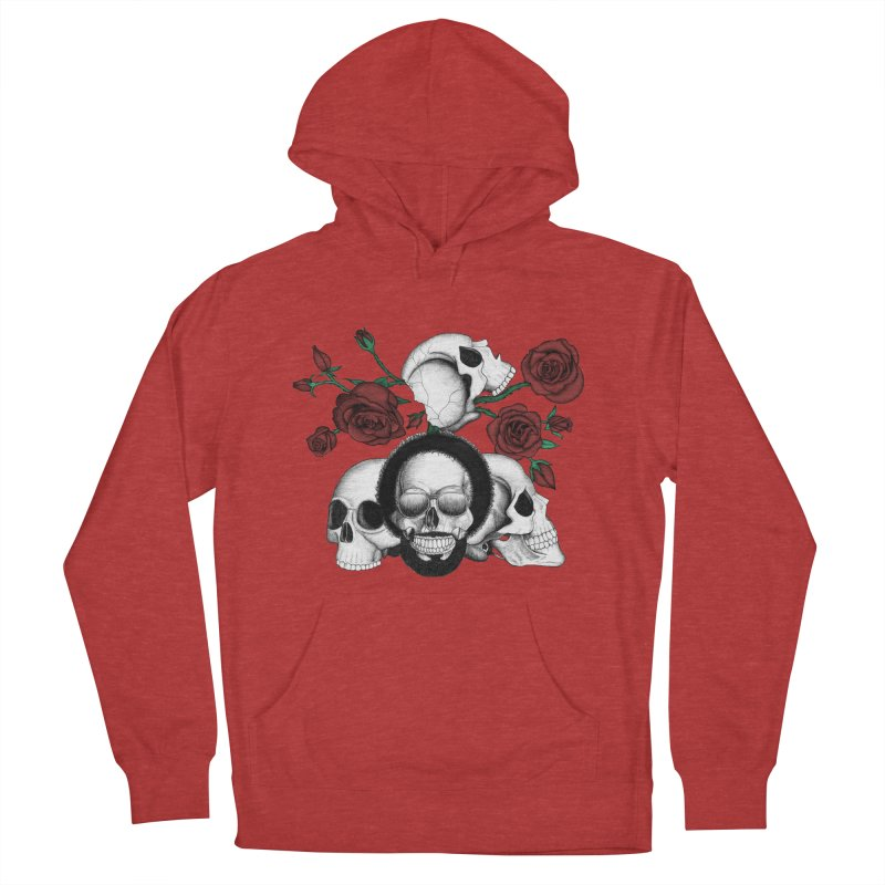 Grunge skulls and red roses (afro skull included. Color version) Men's Pullover Hoody by Beatrizxe