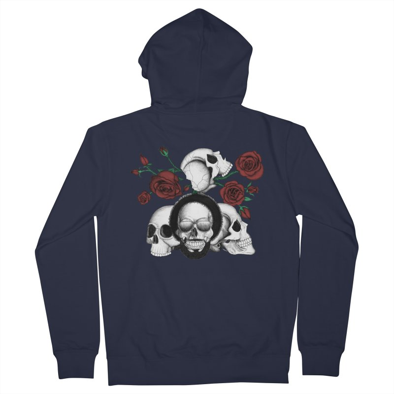 Grunge skulls and red roses (afro skull included. Color version) Women's Zip-Up Hoody by Beatrizxe