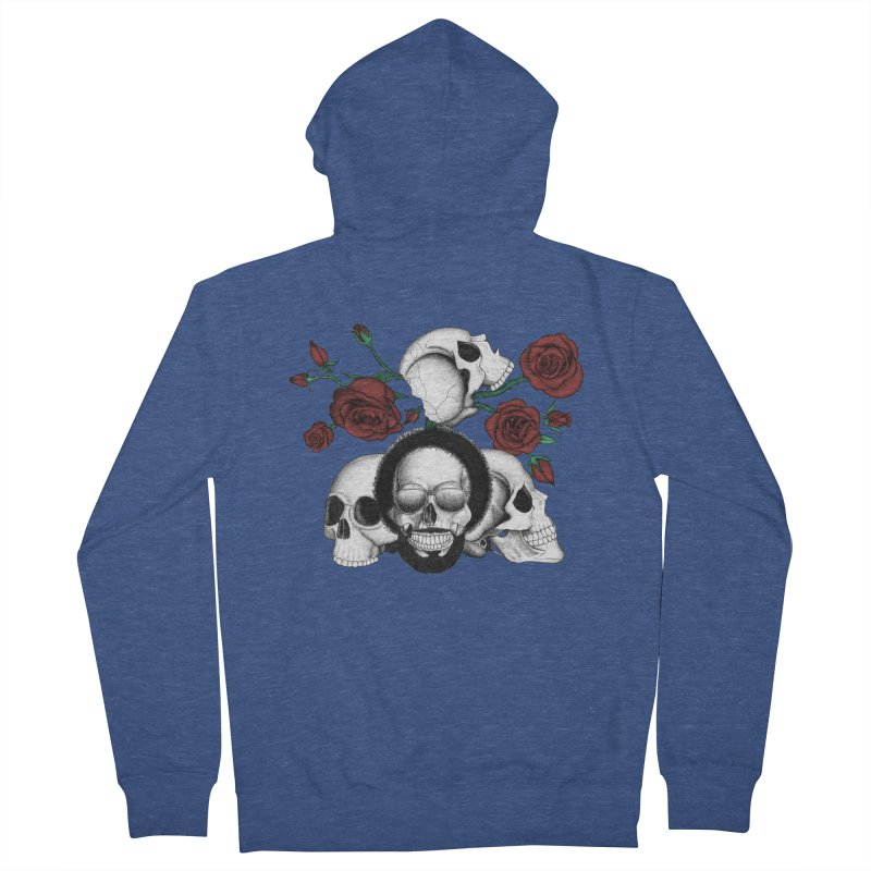Grunge skulls and red roses (afro skull included. Color version) Men's Zip-Up Hoody by Beatrizxe