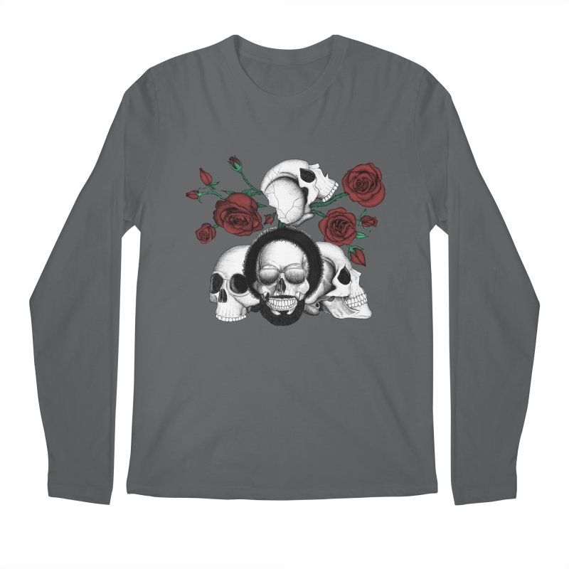 Grunge skulls and red roses (afro skull included. Color version) Men's Regular Longsleeve T-Shirt by Beatrizxe