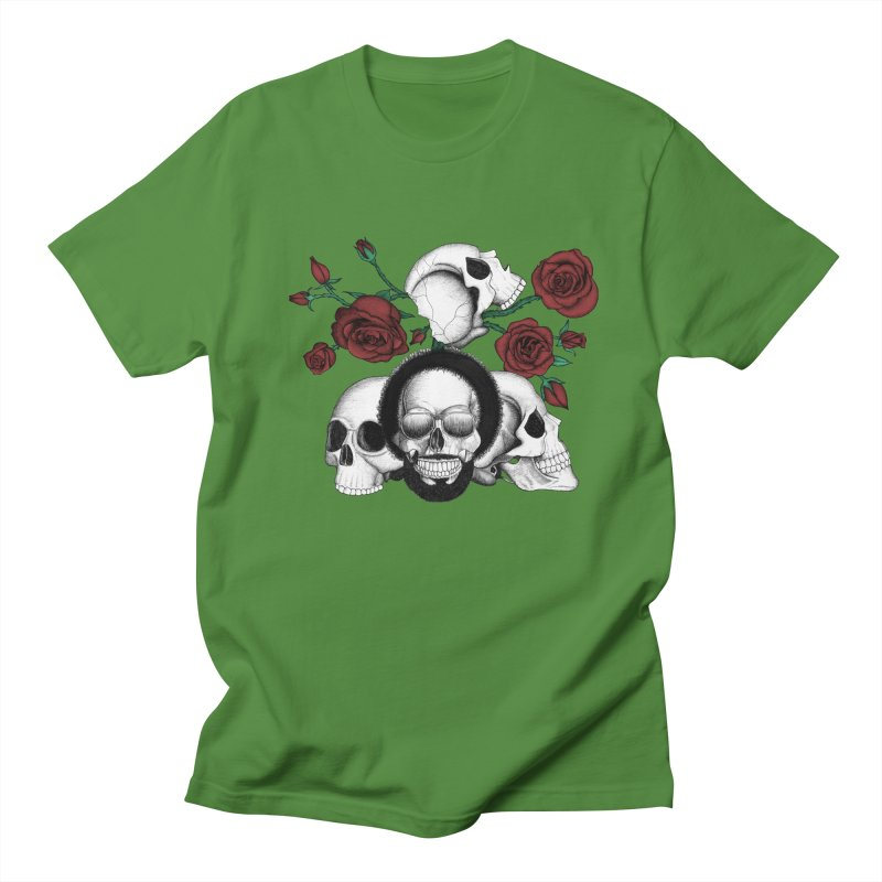 Grunge skulls and red roses (afro skull included. Color version) Men's T-shirt by Beatrizxe