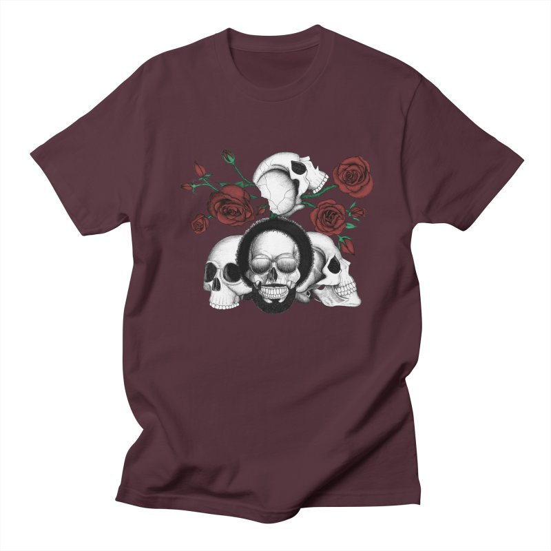 Grunge skulls and red roses (afro skull included. Color version) Women's Unisex T-Shirt by Beatrizxe