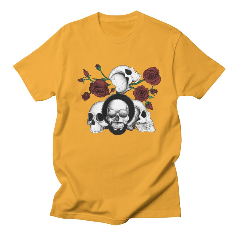 Grunge skulls and red roses (afro skull included. Color version)   by Beatrizxe