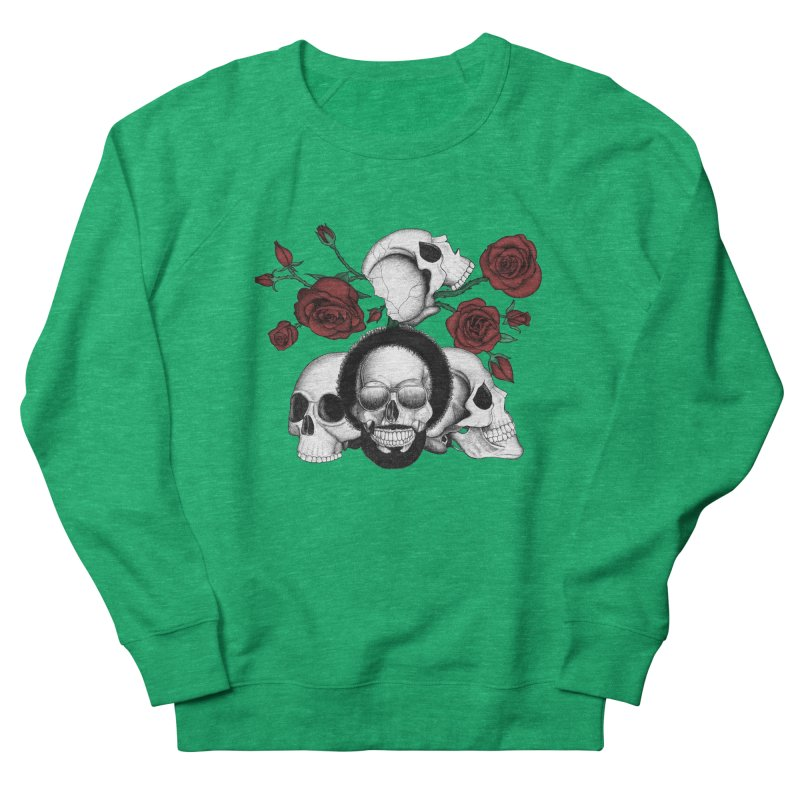 Grunge skulls and red roses (afro skull included. Color version) Women's Sweatshirt by Beatrizxe