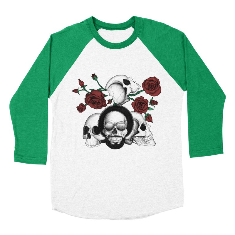 Grunge skulls and red roses (afro skull included. Color version) Women's Baseball Triblend T-Shirt by Beatrizxe