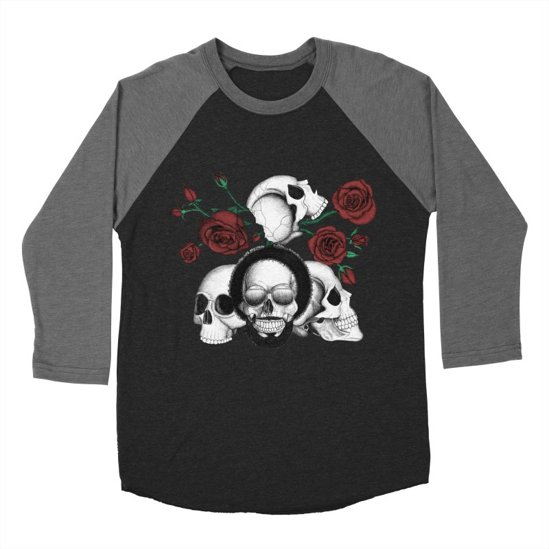 Grunge skulls and red roses (afro skull included. Color version) Men's Baseball Triblend T-Shirt by Beatrizxe