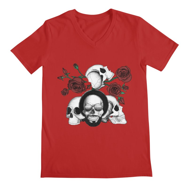 Grunge skulls and red roses (afro skull included. Color version) Men's V-Neck by Beatrizxe