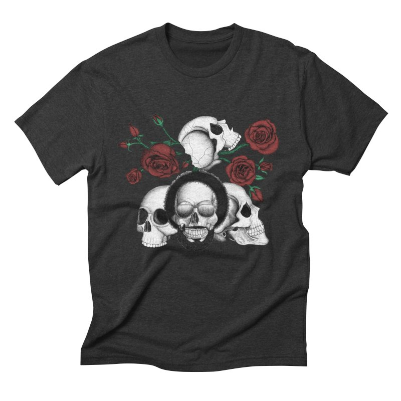 Grunge skulls and red roses (afro skull included. Color version) Men's Triblend T-shirt by Beatrizxe