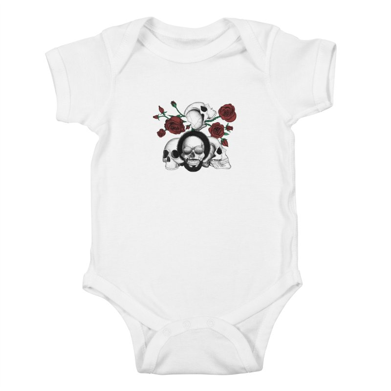 Grunge skulls and red roses (afro skull included. Color version) Kids Baby Bodysuit by Beatrizxe