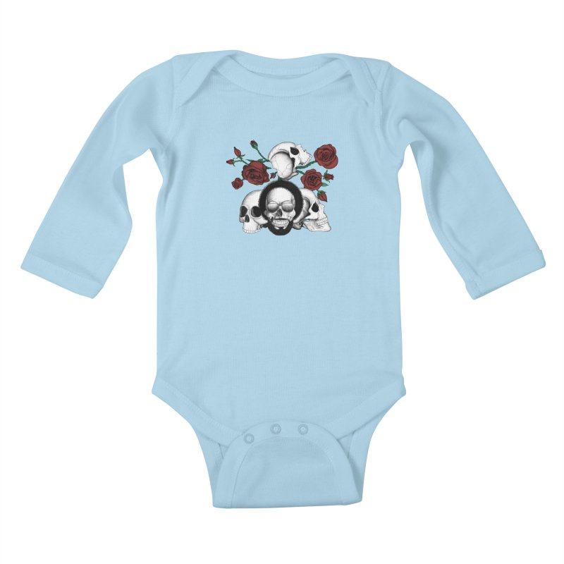 Grunge skulls and red roses (afro skull included. Color version) Kids Baby Longsleeve Bodysuit by Beatrizxe