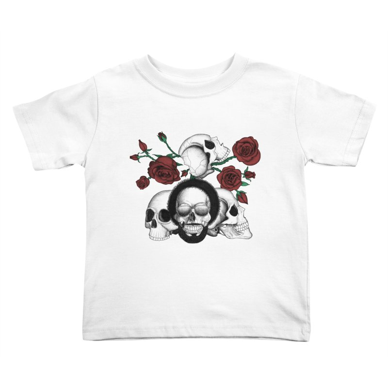 Grunge skulls and red roses (afro skull included. Color version) Kids Toddler T-Shirt by Beatrizxe