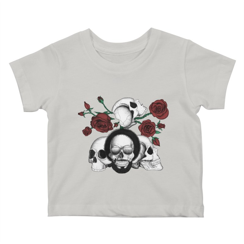 Grunge skulls and red roses (afro skull included. Color version) Kids Baby T-Shirt by Beatrizxe