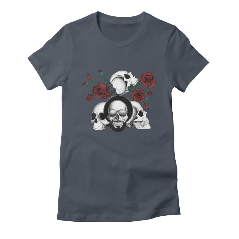 Grunge skulls and red roses (afro skull included. Color version) Women's T-Shirt by Beatrizxe