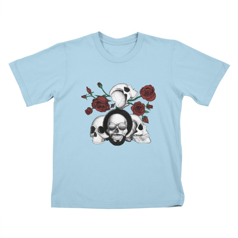 Grunge skulls and red roses (afro skull included. Color version) Kids T-shirt by Beatrizxe