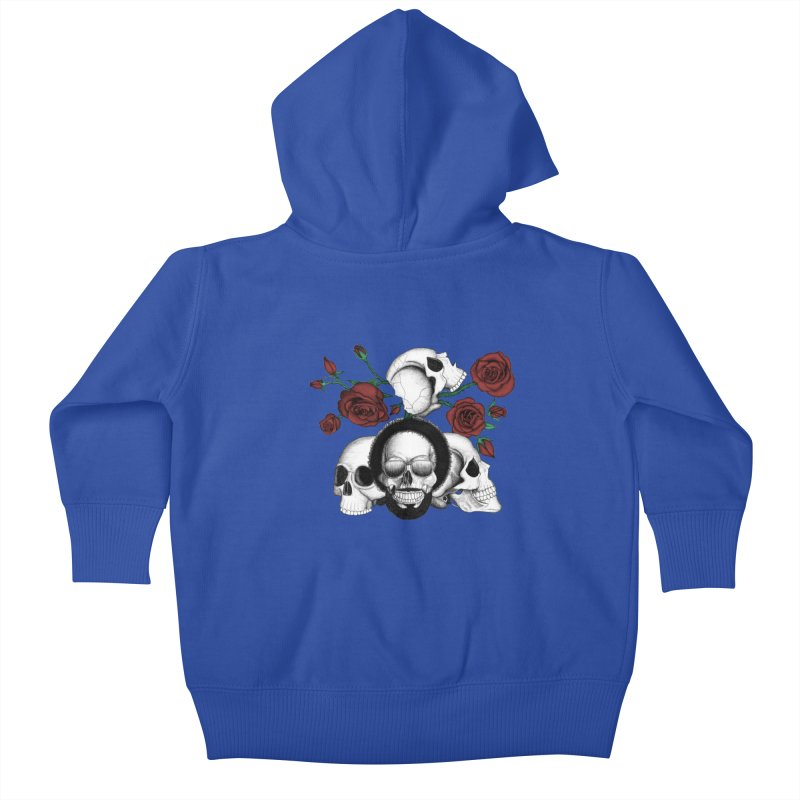 Grunge skulls and red roses (afro skull included. Color version) Kids Baby Zip-Up Hoody by Beatrizxe