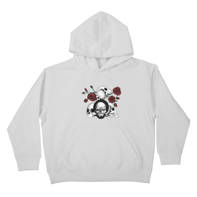 Grunge skulls and red roses (afro skull included. Color version) Kids Pullover Hoody by Beatrizxe