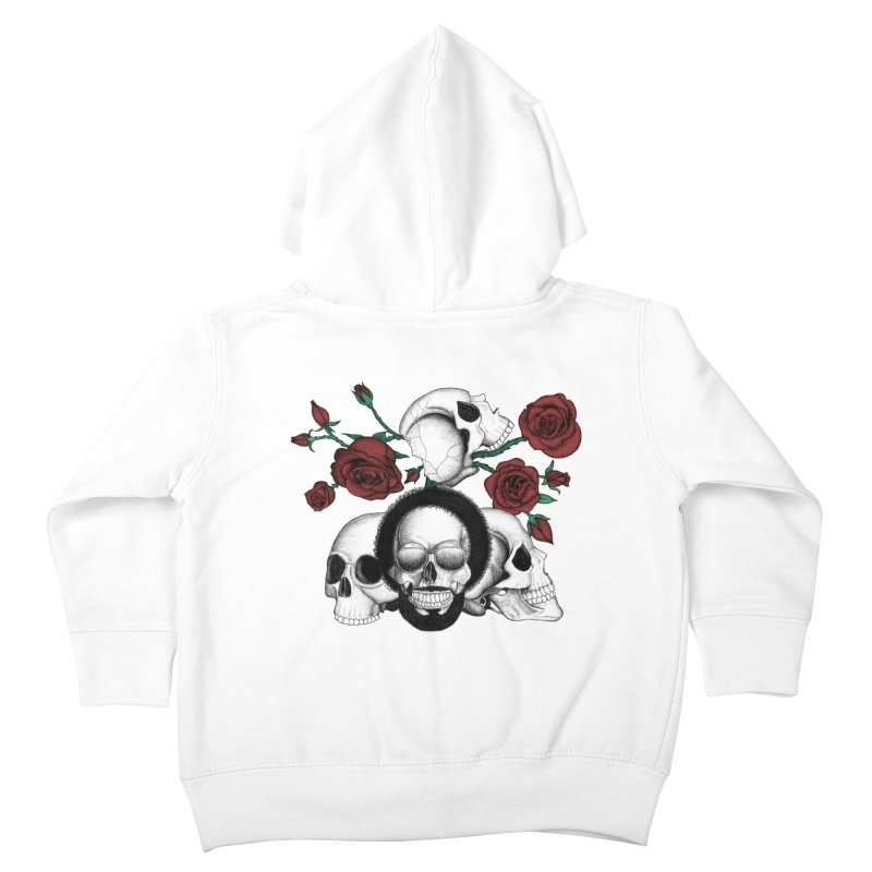 Grunge skulls and red roses (afro skull included. Color version) Kids Toddler Zip-Up Hoody by Beatrizxe