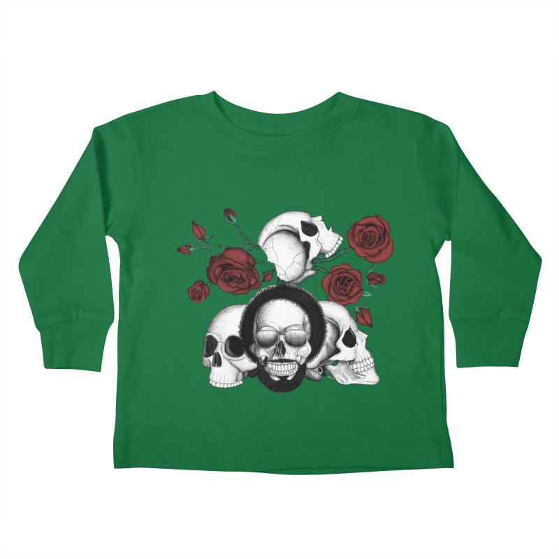 Grunge skulls and red roses (afro skull included. Color version) Kids Toddler Longsleeve T-Shirt by Beatrizxe