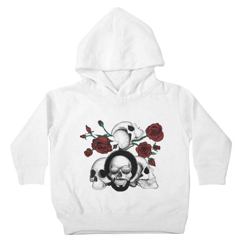 Grunge skulls and red roses (afro skull included. Color version) Kids Toddler Pullover Hoody by Beatrizxe