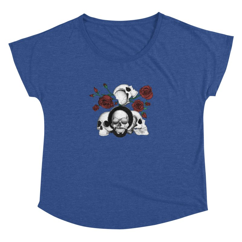 Grunge skulls and red roses (afro skull included. Color version) Women's Dolman by Beatrizxe