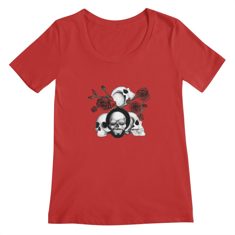 Grunge skulls and red roses (afro skull included. Color version) Women's Scoopneck by Beatrizxe
