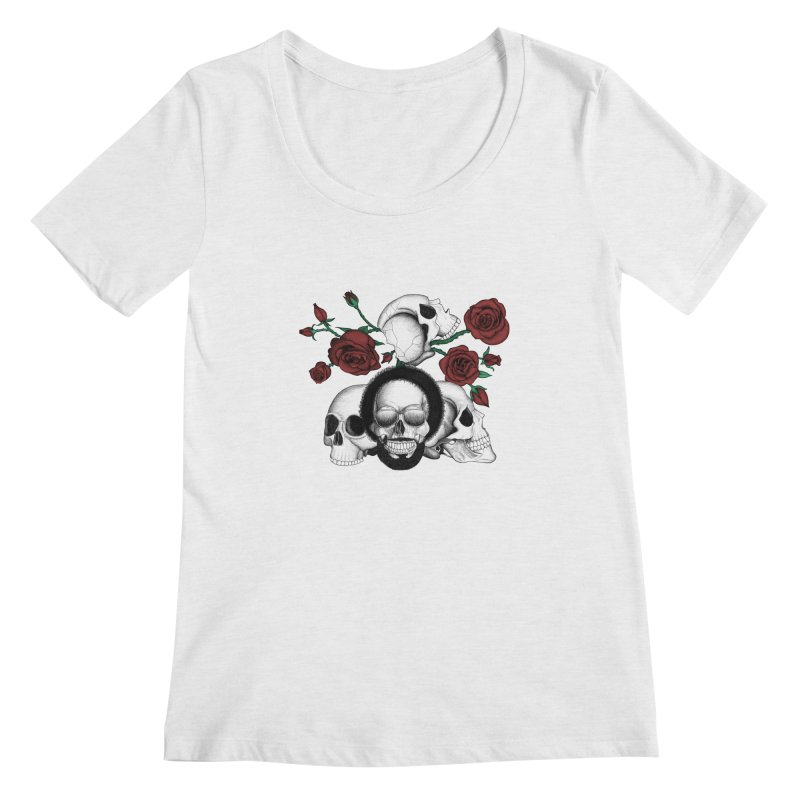 Grunge skulls and red roses (afro skull included. Color version) Women's Regular Scoop Neck by Beatrizxe