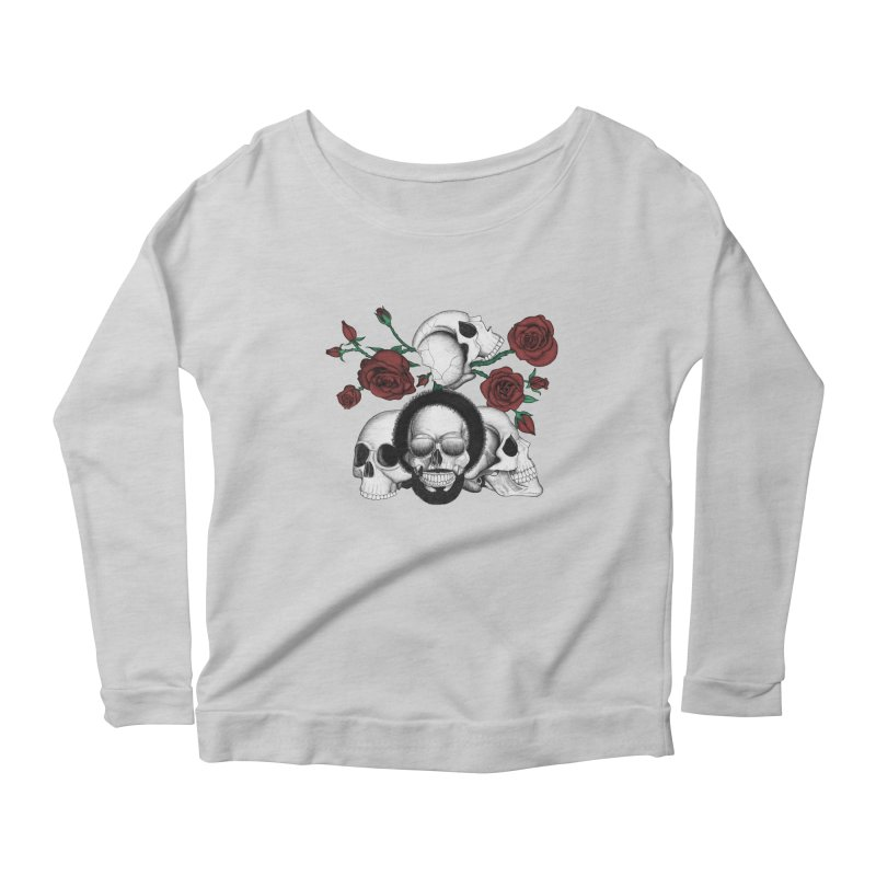 Grunge skulls and red roses (afro skull included. Color version) Women's Longsleeve Scoopneck  by Beatrizxe