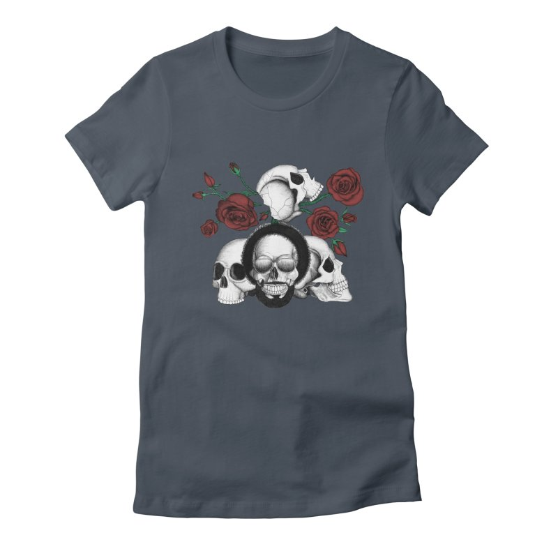 Grunge skulls and red roses (afro skull included. Color version) Women's Fitted T-Shirt by Beatrizxe
