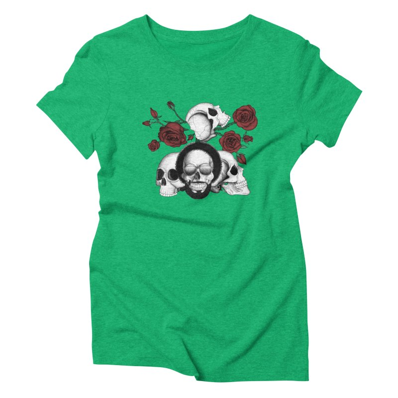 Grunge skulls and red roses (afro skull included. Color version) Women's Triblend T-shirt by Beatrizxe