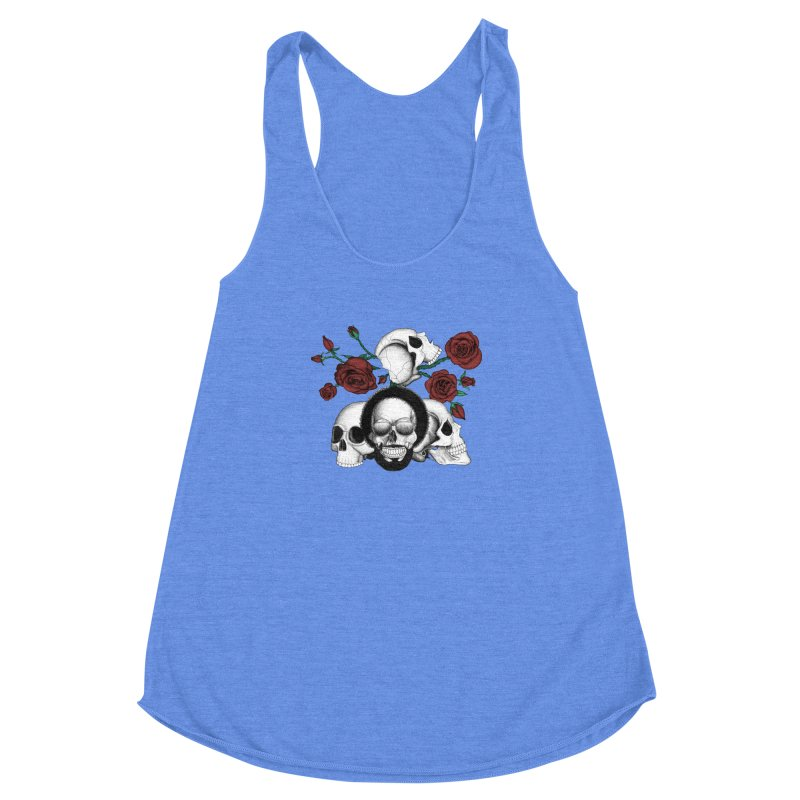 Grunge skulls and red roses (afro skull included. Color version) Women's Racerback Triblend Tank by Beatrizxe