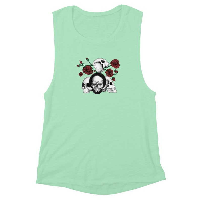 Grunge skulls and red roses (afro skull included. Color version) Women's Muscle Tank by Beatrizxe