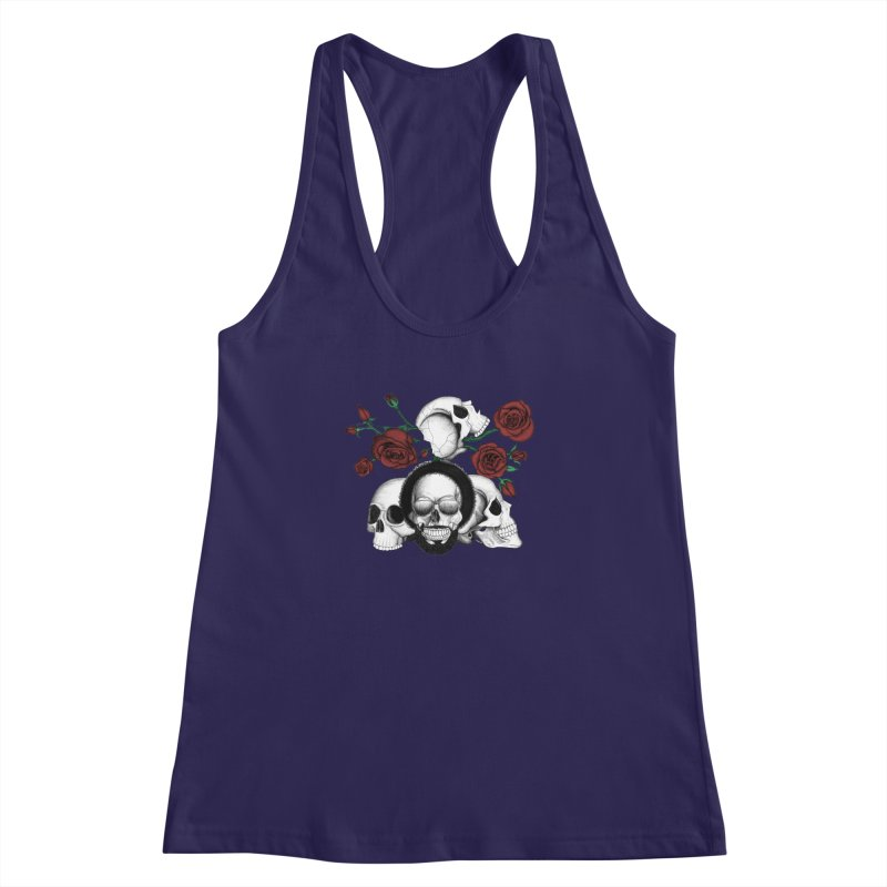 Grunge skulls and red roses (afro skull included. Color version) Women's Racerback Tank by Beatrizxe