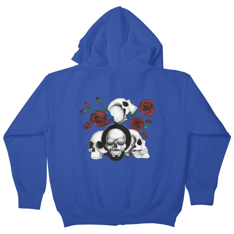 Grunge skulls and red roses (afro skull included. Color version) Kids Zip-Up Hoody by Beatrizxe