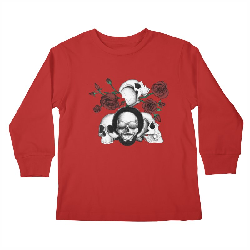 Grunge skulls and red roses (afro skull included. Color version) Kids Longsleeve T-Shirt by Beatrizxe