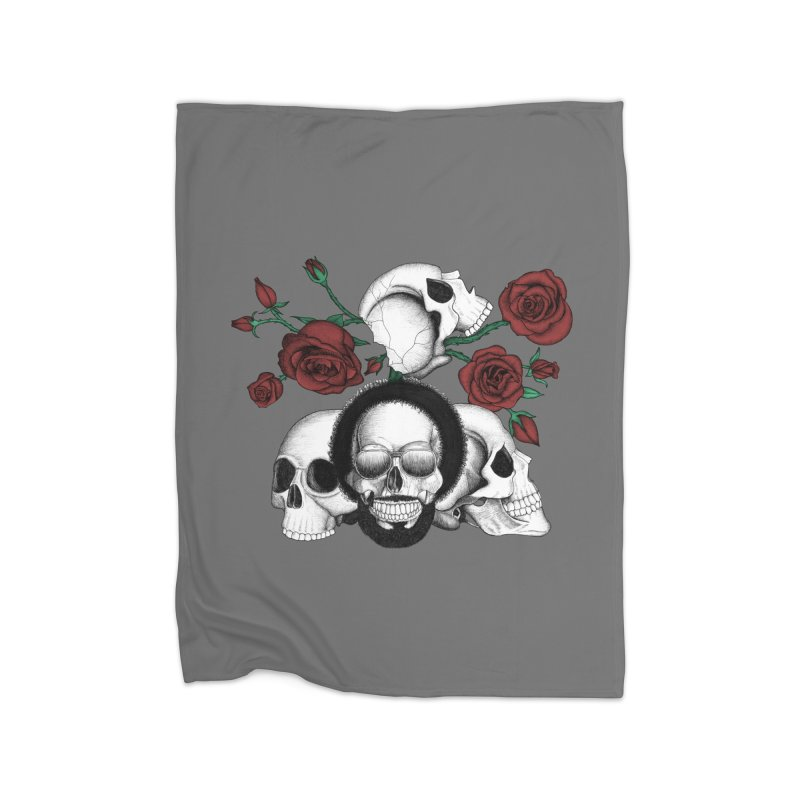 Grunge skulls and red roses (afro skull included. Color version) Home Blanket by Beatrizxe