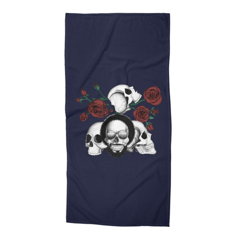 Grunge skulls and red roses (afro skull included. Color version) Accessories Beach Towel by Beatrizxe