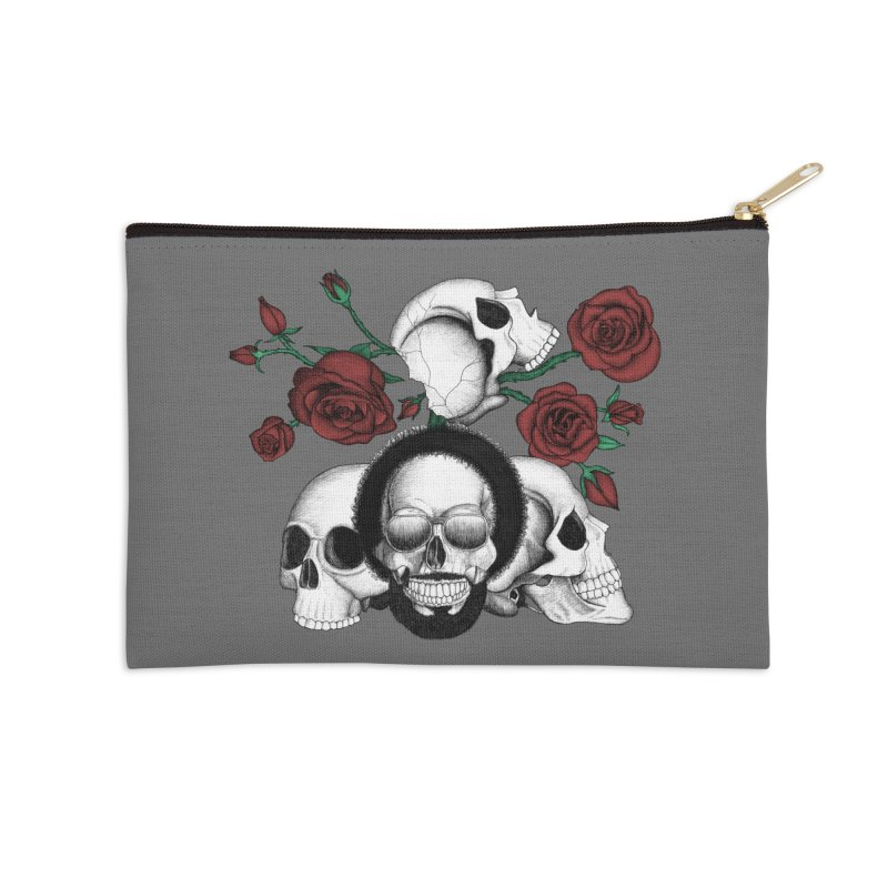 Grunge skulls and red roses (afro skull included. Color version) Accessories Zip Pouch by Beatrizxe